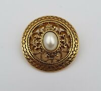 "Vintage Filigree Gold Tone Circle Pin Brooch with Faux Pearl 1"" Diameter"