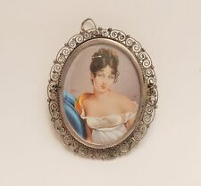 Vtg/Atq miniature painting portrait brooch signed HIL 800 silver merveilleuse