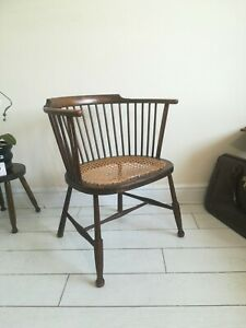 Stick back tub chair Bergere cane seated Arts and Crafts Art Nouveau