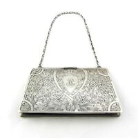 Antique Sterling Silver 925 Etched Bag Purse 384 grams