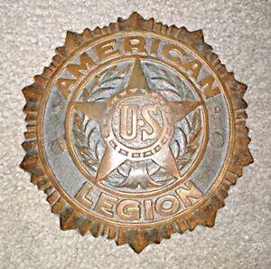 Vintage American Legion Grave Marker, Cast Solid Brass, Flag Holder