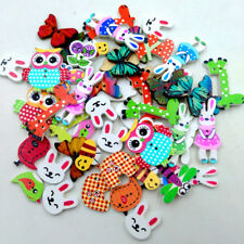 50pcs Mixed Wooden Animal Buttons Assorted Colors Sewing Scrapbooking DIY Craft