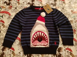 Joules Baby Santa Jaws Festive Shark Jumper 1yr 12 months blue stripe Christmas