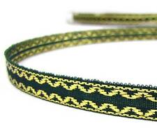"5 Yds Christmas Green Gold Narrow Ribbon 3/8""W"