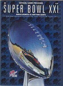 New York Giants Denver Broncos Super Bowl XXI program football NRMT