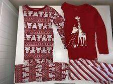 Baby Gap Bear Santa Long Sleeve 2-pc Holiday Red Christmas Pajamas Lot Of 2 Sz 3