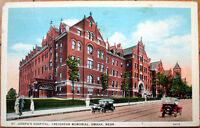 1927 Postcard: St. Joseph's Hospital, Creighton Memorial - Omaha, Nebraska NE