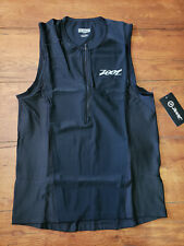 NEW Zoot Mens M Tri Tank Performance Top Black Compression Triathlon Shirt