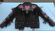 Vintage Leather Jacket Women's Black Motorcycle Biker Fringe Coat size 40 Zip