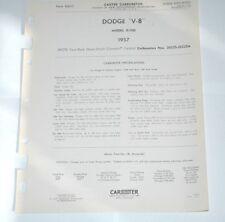 1957 DODGE V8 CARTER WCFB 4 BARREL DATA SPEC SHEET CARTER #2622 MODEL D-500
