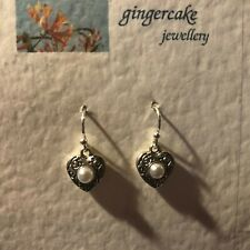 SMALL HEART DROP EARRINGS WITH WHITE PEARL STONE DARK SILVER PLATED