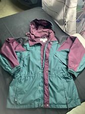 Vintage Columbia Williwaw Snow, Ski Jacket Parka Men's Sz L Hooded Green / Plum