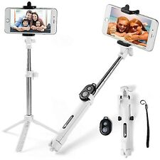 White Extendable Tripod Selfie Stick With Bluetooth for Samsung Nokia LG Huawei