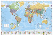 "MAP OF THE WORLD WITH NATIONAL FLAGS  91 x 61 cm 36"" x 24"" POSTER x"