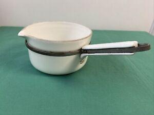 CASSEROLE Ancienne En porcelaine à feu Limoges blanche ALUMINITE FRUGIER No 2