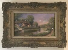 Original Acrylic On Canvas Painting English Landscape Walk By River Gordon Lees