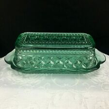 Anchor Hocking Wexford Butter Dish 1/4 pound Green Glass Diamond Shape Vintage