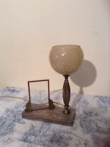 French Art Deco Marble Base Desk Table Lamp Light with Picture Frame (2193)