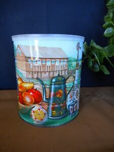 Vintage Kitschy Coffee Can Tin 1960s 70's Coffee Pot fruit barn windmill lid