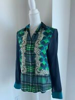 Emma Cook Navy Blue Green & Multi Print Silk Button Down Shirt Blouse UK 10 US S