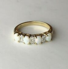 Ivy Gems 9ct Yellow Gold Milky White Opal & Diamond Half Eternity Ring - Size N