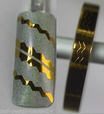 8 Meter Wellen Zierstreifen * GOLD  * selbstklebend Wellenförmig Nail Tape