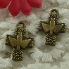 free ship 35 pieces bronze plated dove cross charms 24x16mm #3206