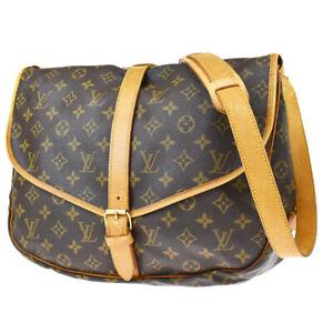 Auth LOUIS VUITTON Saumur 35 Shoulder Bag Monogram Leather Brown M42254 88MI584