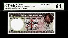 Ghana 5 Cedis 1965 SPECIMEN PMG 64 UNC Pick # 6s  S/N A/I 000000 Rare Type