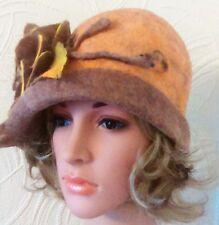 Felted 100% Wool  Handmade Hat ,Cloche Hat, Woolen Hat .Women's Winter Hat.