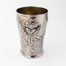 French Chestnut Beaker Gilt Interior Henin Cie 950 Sterling Silver 1900s