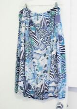 Laura Scott Womens Plus Yoryu Printed Skirt Blue Combo Sz 1X - NWT
