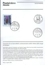 ITALIE 2006 MASSACRE DE BOLOGNA BULLETIN COMPLET DE TIMBRES FDC