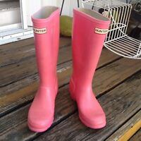 Hunter Pink Wellies Tall Rain Boot Galoshes W5 M4 UK3 EU35 36 Rubber Shoes Women