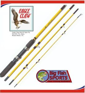 """EAGLE CLAW Pack It Rod Spin /Fly 7'6"""" 4Pc Medium #PK601-76 FREE USA SHIPPING!"""