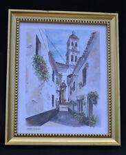 Vintage Art Print Framed Wall Mediteran Sheet Scene Signed