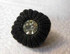 Negro Flor En Cristal Claro grandes botones Italiano Domo 20mm-B914 Chaqueta 2 un