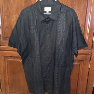 Solitude Embroidered Black Button Short Sleeve Shirt