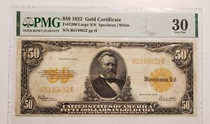 1922 $50 FIFTY DOLLARS GOLD CERTIFICATE FR#1200 CURRENCY NOTE PMG VERY FINE-30