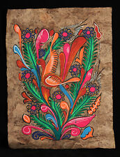 Vintage Mexican Amate Painting Folk Art Mexico Collectible 1 Bird Decorative
