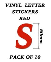Vinyl Stickers size 50mm X Multipurpose use Set of 10 Red Letters