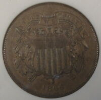 1864 Large Motto 2 Cent Piece ANACS Certified AU58 Old Small Holder