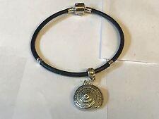 Concha De Mar TG129 de estaño bien inglés en una pulsera serpiente de imitación de cuero