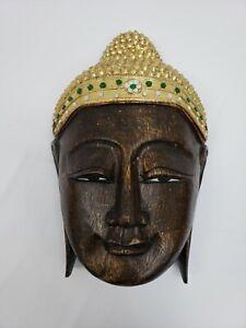 Buddha Face Wooden Mask Art Sculpture Wall Hanging Home Decoration