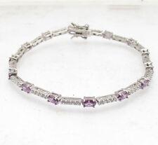 """7.25"""" Purple Amethyst Clear Zircon CZ Tennis Bracelet Real Solid 925 Silver"""