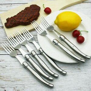 6pcs 9inch Laguiole Stainless Steel Steak Forks set Silver Dinner Fork Tableware