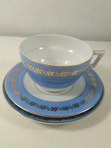 Czechoslovakian Bone China Art Deco Trio Blue/White Gilded - Lot 1