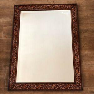 "Mirror 31 x 20"" Made in Italy wood raised scroll work edging hollywood regency"