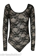 Womens Long Sleeve Lace Floral Bodysuit Stretch Ladies Leotard Body Top UK 8-28