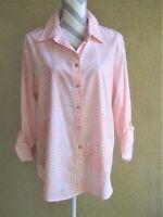 Chicos 3 cotton rolled sleeve no iron peach/white block print button down shirt